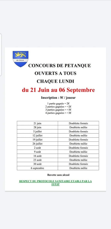 Le 09/08/2021 Concours de pétanque
